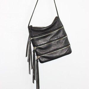 Linea Pelle Black Leather Fringe Crossbody Bag